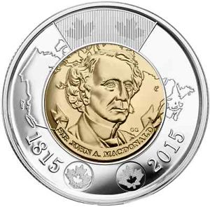 CANADA $2 2015 Sir John A. Macdonald Circulation Toonie