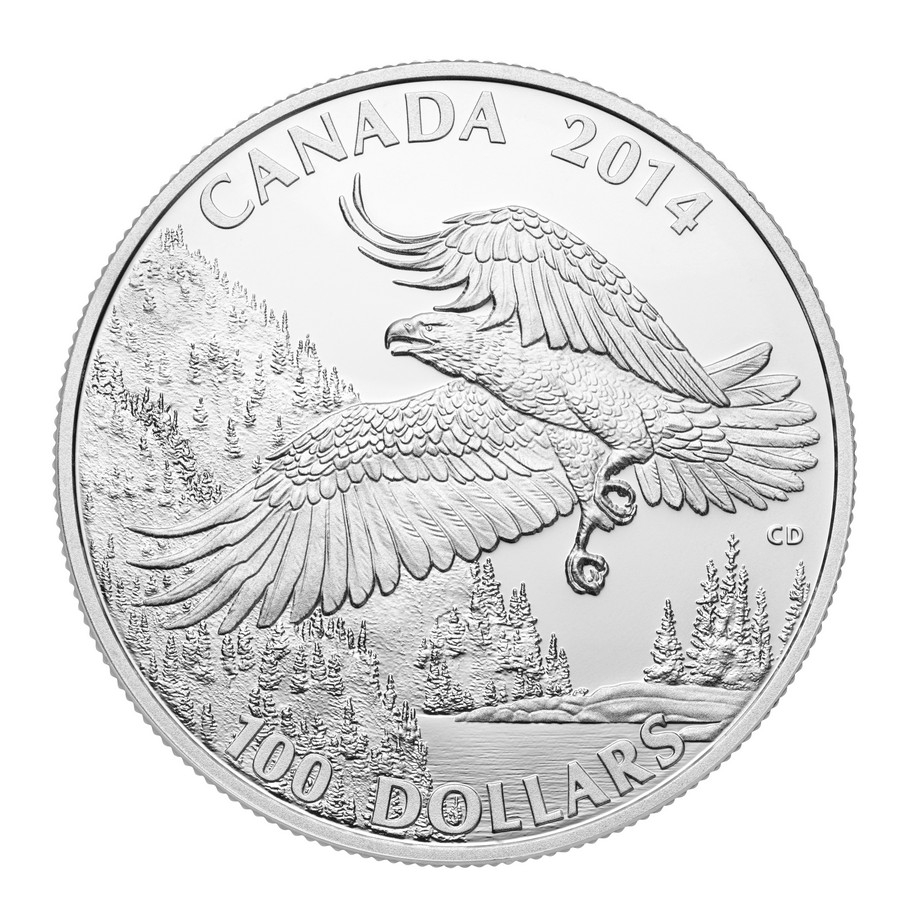 CANADA 2014 $100 Fine Silver Commemorative Coin - Wildlife In Motion - Majestic Bald Eagle - $100 for $100 - #3 In Series