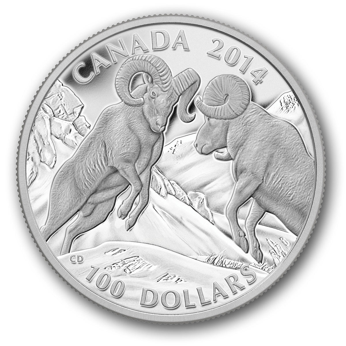 CANADA 2014 $100 Fine Silver Commemorative Coin - Wildlife In Motion - Bighorn Sheep - $100 for $100 - #4 In Series