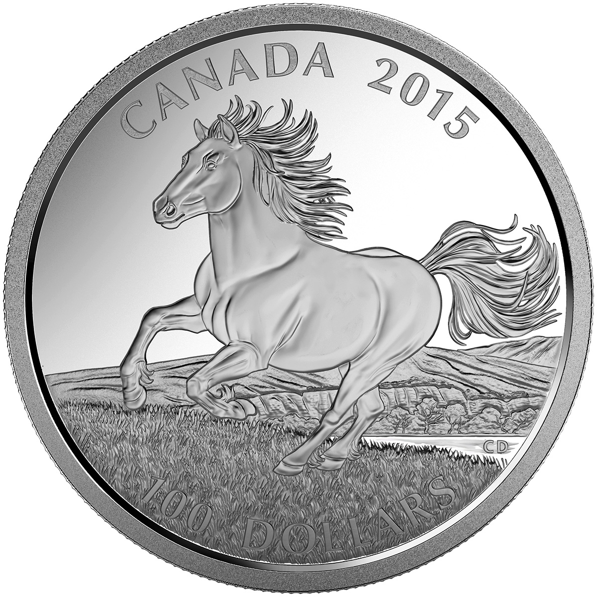 CANADA 2015 $100 Fine Silver Commemorative Coin - Wildlife In Motion - Canadian Horse - $100 for $100 - #5 In Series