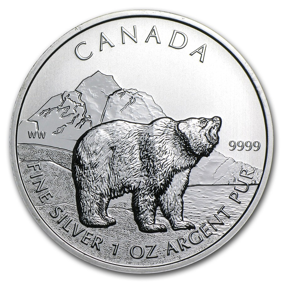 CANADA 2011 $5 Silver Maple Leaf - Canadian Wildlife Series - Grizzly - 1oz Fine Silver Coin - #2 in Series