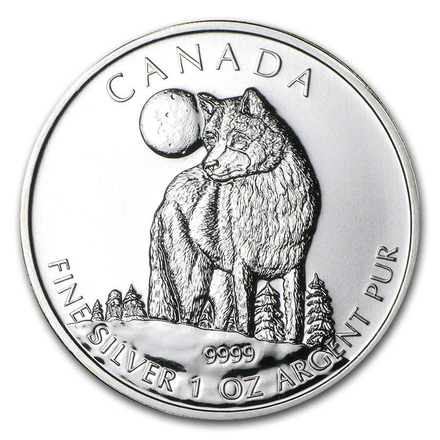 CANADA 2011 $5 Silver Maple Leaf - Canadian Wildlife Series - Wolf - 1oz Fine Silver Coin - #1 in Series
