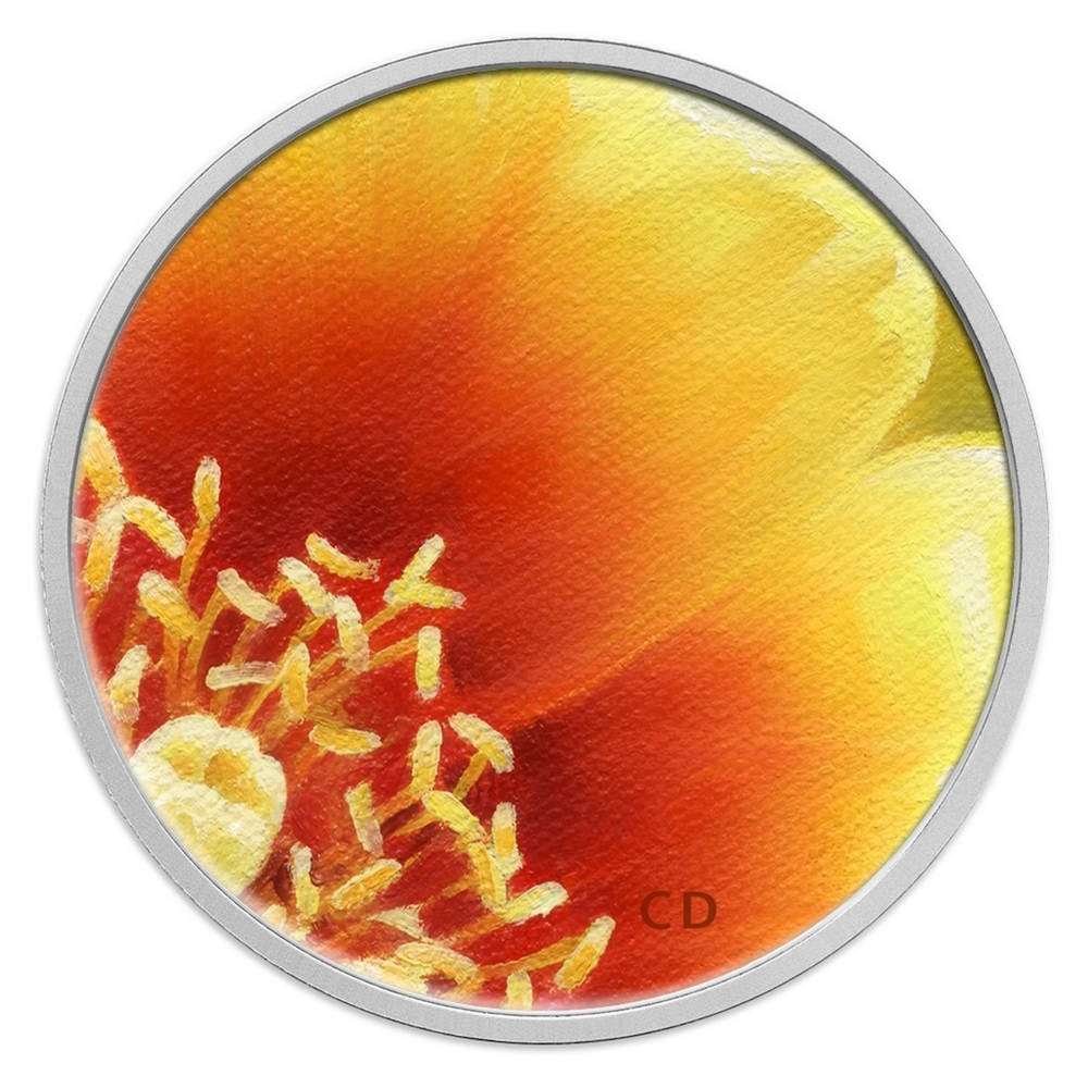 CANADA 25 cents 2013 Eastern Prickly Pear Cactus Coloured Coin