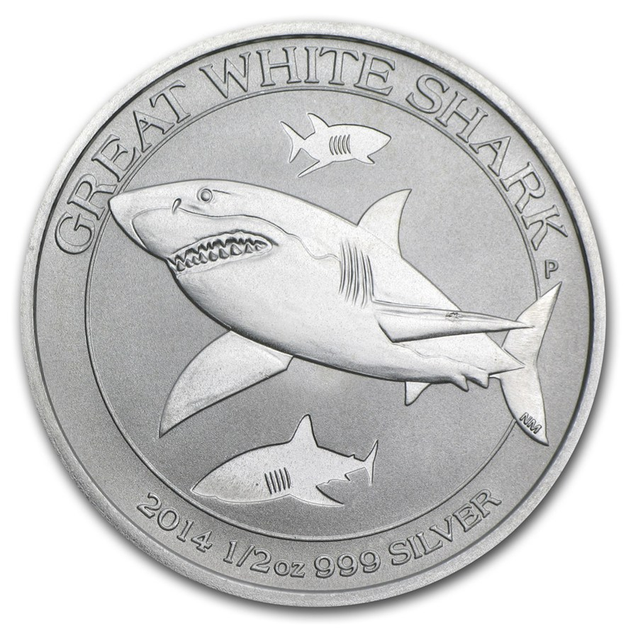 AUSTRALIA 2014 50 cents Great White Shark Fine 1/2oz Silver Coin
