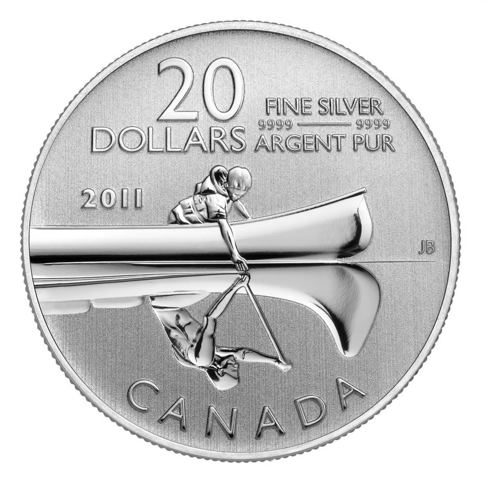 CANADA 2011 $20 Fine Silver Commemorative Coin - Canoe - $20 for $20 - #2 In Series