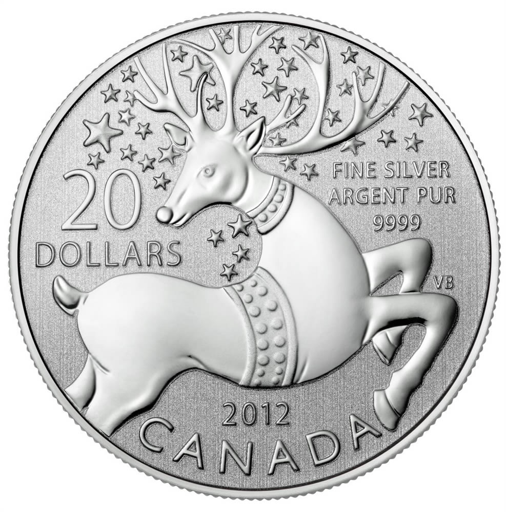 CANADA 2012 $20 Fine Silver Commemorative Coin - Reindeer - $20 for $20 - #6 In Series