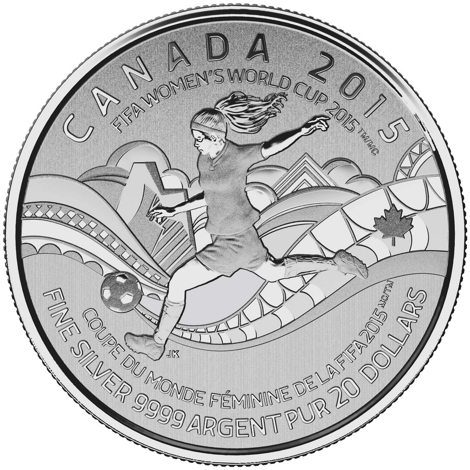 CANADA 2015 $20 Fine Silver Commemorative Coin - FIFA Women's World Cup - $20 for $20 - #16 In Series