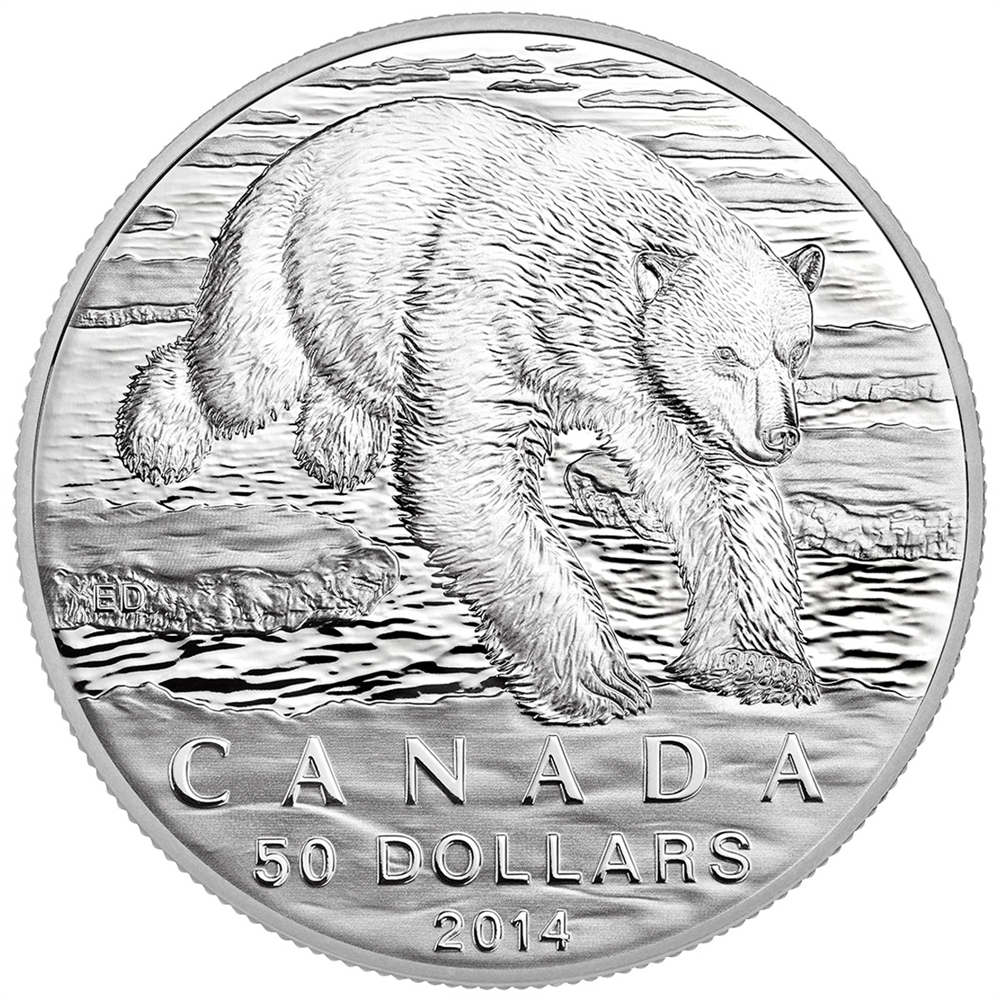 CANADA 2014 $50 Fine Silver Commemorative Coin - Polar Bear - $50 for $50 - #1 In Series
