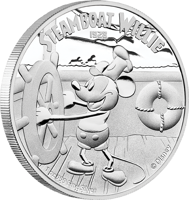 DISNEY 2014 $2 Steamboat Willie Fine 1oz Silver Proof Coin