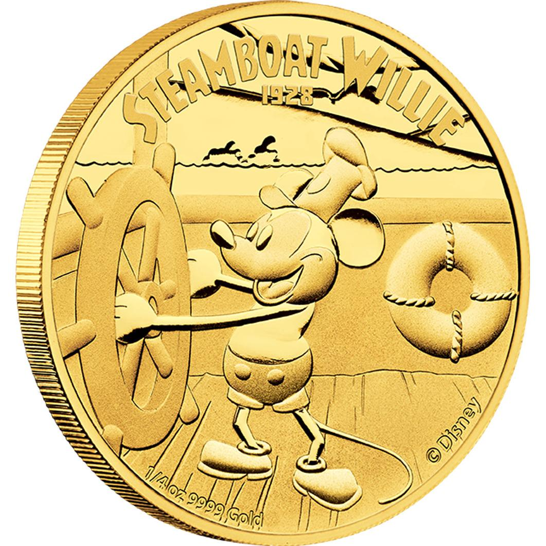 DISNEY 2014 $25 Steamboat Willie Fine 1/4oz Gold Proof Coin