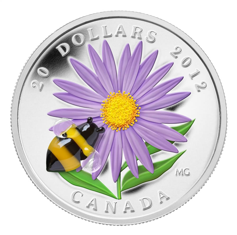 CANADA 2012 $20 Fine Silver Coin - Aster with Bumblebee - Venetian Glass Series - #2 In Series