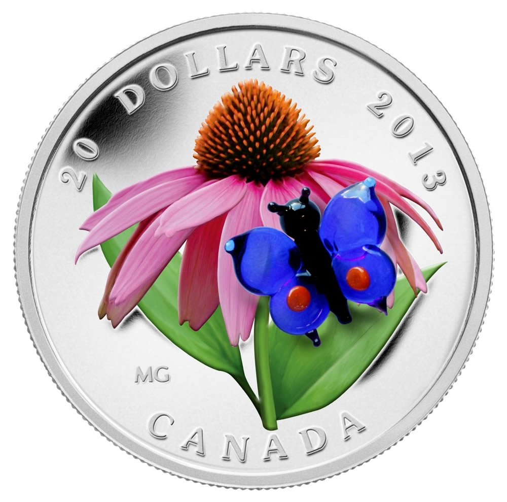 CANADA 2013 $20 Fine Silver Coin - Purple Coneflower with Butterfly - Venetian Glass Series - #3 In Series