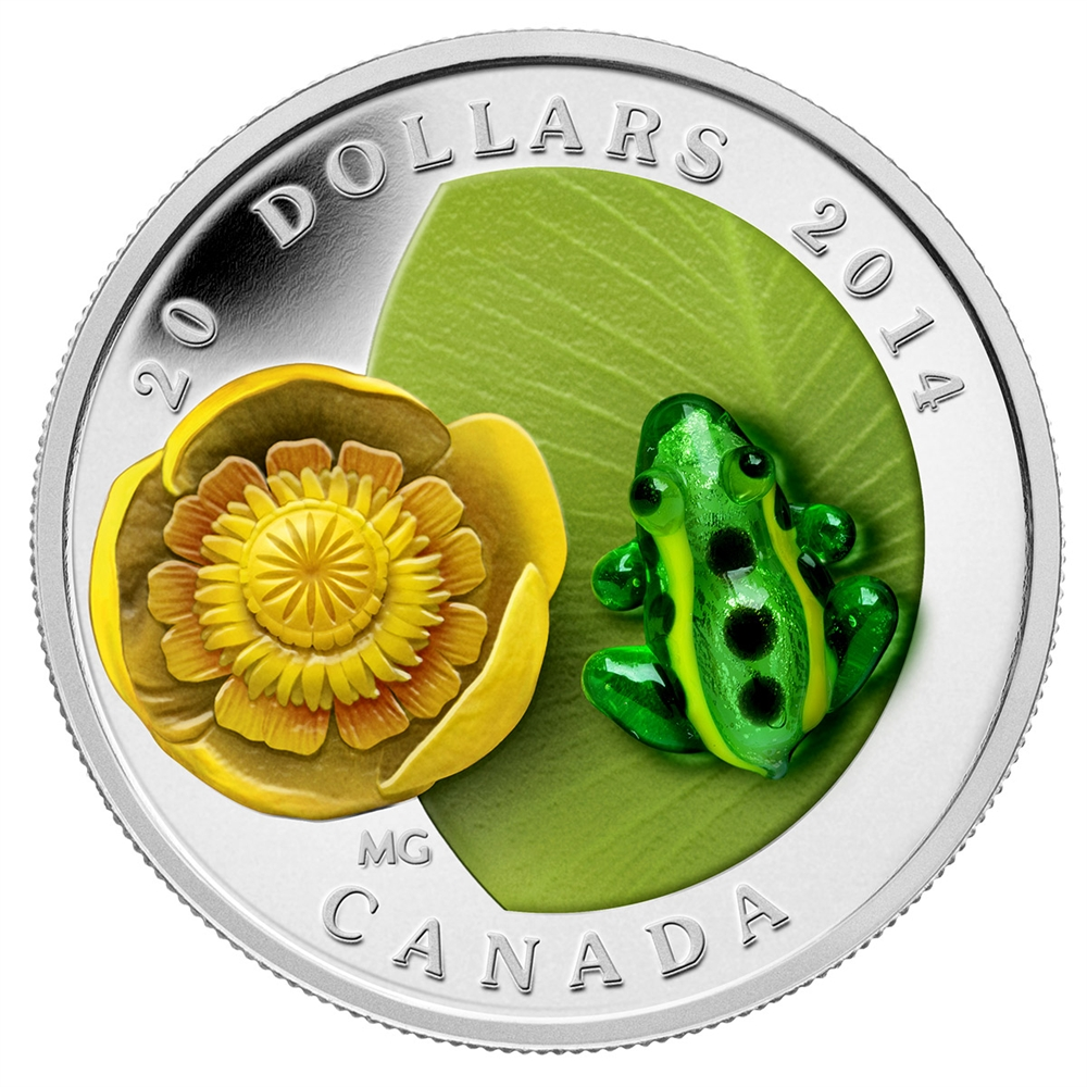 CANADA 2014 $20 Fine Silver Coin - Water-Lily and Leopard Frog - Venetian Glass Series - #4 In Series