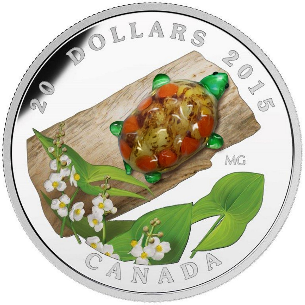 CANADA 2015 $20 Fine Silver Coin - Turtle with Broadleaf Arrowhead Flower - Venetian Glass Series - #5 In Series