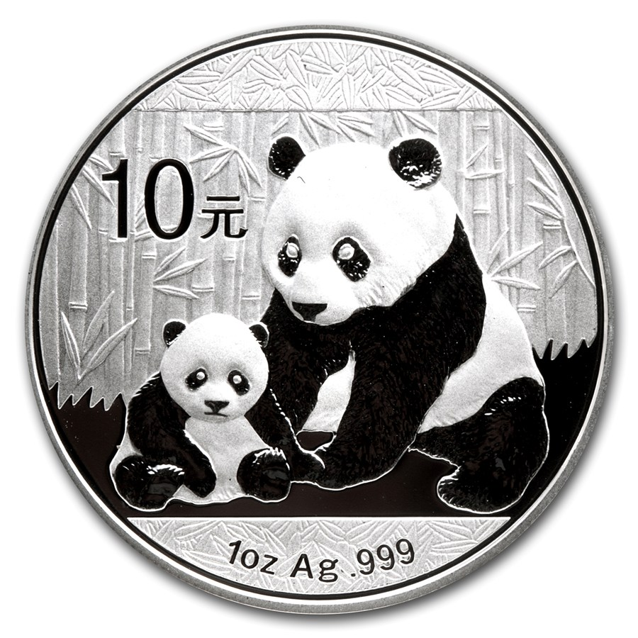 CHINA 2012 Panda Fine 1oz Silver Coin in Capsule Brilliant Uncirculated