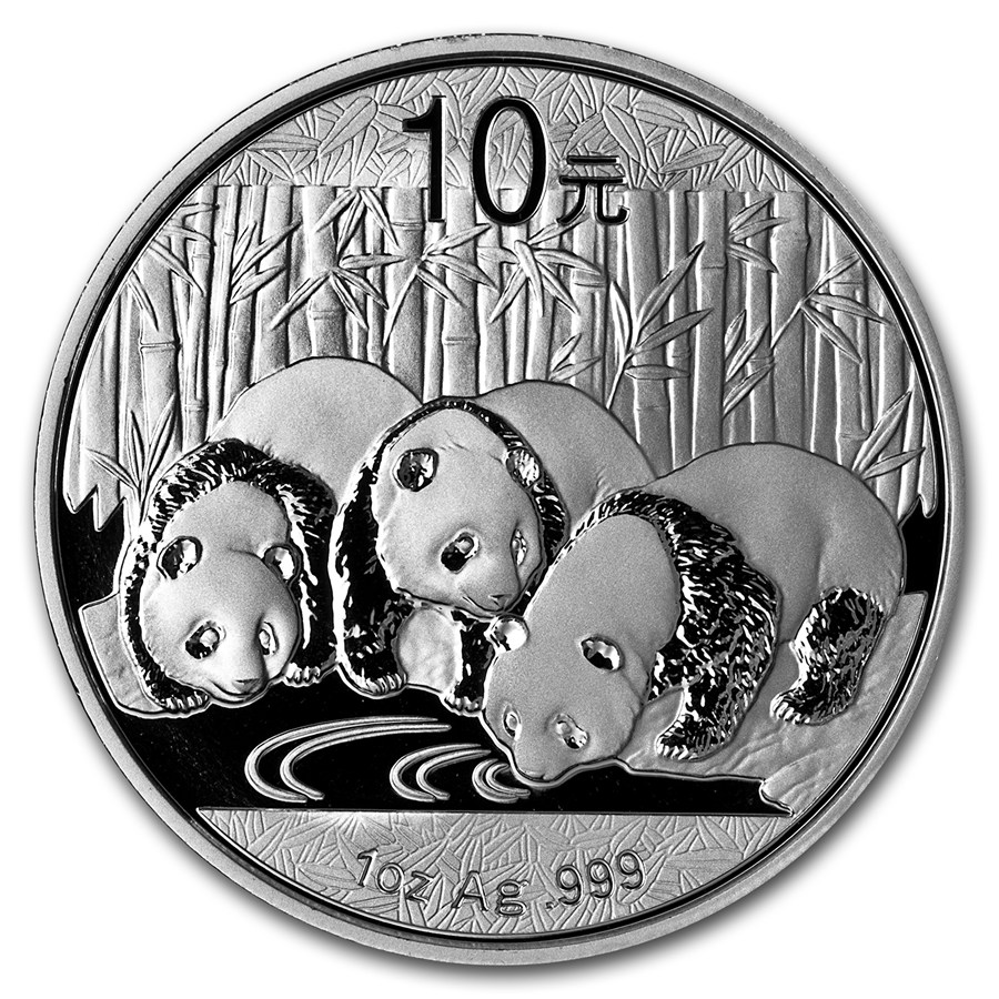 CHINA 2013 Panda Fine 1oz Silver Coin in Capsule Brilliant Uncirculated