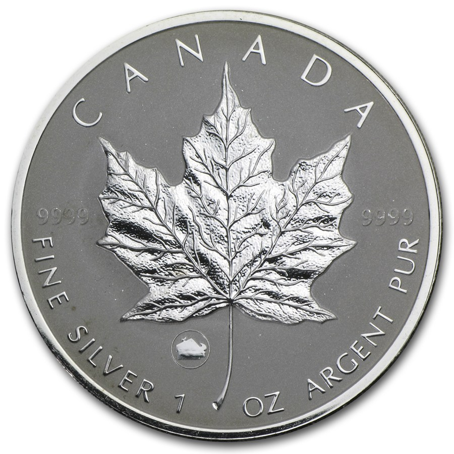 CANADA 2009 $5 Silver Maple Leaf with Lunar Ox Privy Mark - 1oz Fine Silver Coin